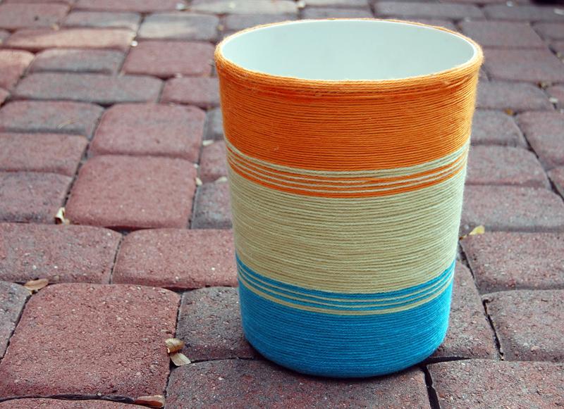 Yarn Wrapped Trash Can DIY. I'm ...
